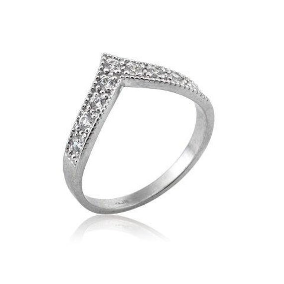 Unique art deco style ring with diamonds 18k gold Art Deco V