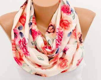SALE floral summer scarf ,cotton scarf ,infinity scarf ,loop scarf ,pink