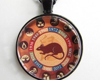 CHINESE YEAR of the RAT Necklace -- Chinese Zodiac for him and her, Chinese New Year, Astrological birthday present, Zodiac art