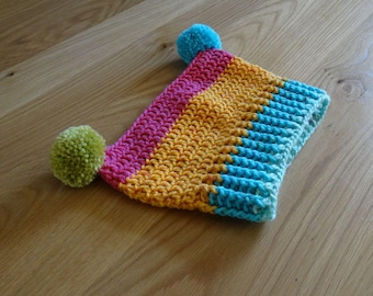 Rainbow Crochet Girls Pom Pom Square Hat,Baby,Toddler,Preschool,Child, Sz 0,1,2,4,5,6,7,8,9 yrs Pink,Green,Blue,Orange,Yellow, Hand Made