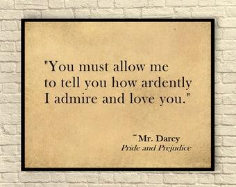 Jane Austen Art Print, Jane Austen Quote, Pride and Prejudice, Custom Art Print, Literary Art Print, Wall Art, Gift for Book Lovers