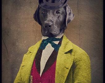 Black Lab Art Black Labrador Animal Photography Dog Print Pet Portrait Gifts for Veterinarians Pet Lover Lonely Pixel Print - Oscar