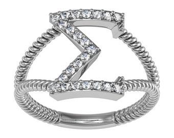 Sigma Gamma Rho Ring - Horizontal Silver (SGR-R003)