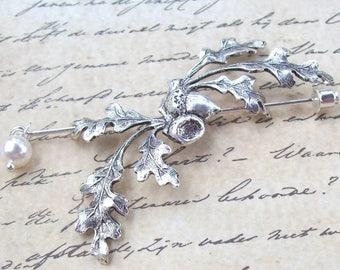 Silver Oak Leaf Shawl Pin, Acorn Scarf Pin, silver Pin, oxidized, silver shawl pin, fall fashion, organic, stick pin, branch, woodland