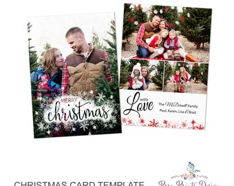 Christmas Card Template Merry & Bright - 5x7 Photo Card - Photoshop Template - INSTANT DOWNLOAD or Printable - CC23