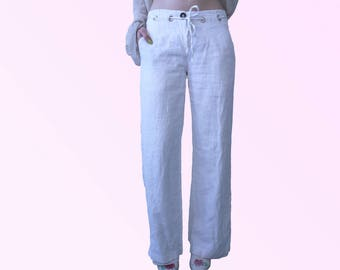 90s Wide Leg White Linen Pants with Drawstring Waist Minimal Chic Vintage VTG