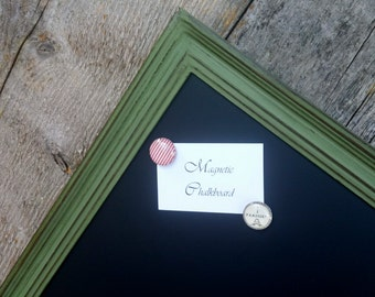Magnetic Chalkboard Distressed Moss Green Vintage Style Frame - 29 x 18 in. Magnetic Board - Green Chalkboard