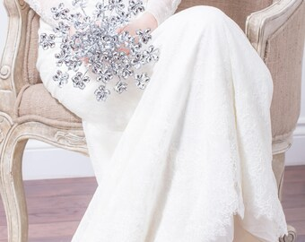 Bridal Bouquet - Silver Flower Wedding Bouquet, Queen Anne's Lace Bridal Bouquet, Silver Bouquet, Fabulous Brooch Bouquet Alternative