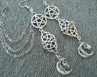 Moon Goddess Cuff Set,Pagan ear cuff set,ear cuff,Wiccan Ear cuff set,Celtic,pentacle cuff set,Five Elements earrings,Witch Ear cuff,Wicca