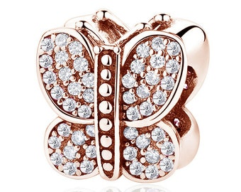 925 Sterling Rose Gold Butterfly Charm Fit Pandora bracelet