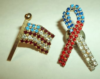 Red White Blue AMERICAN Flag and BOW Tie Tack Pins