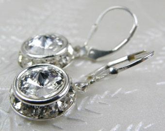 Swarovski Crystal Earrings, Rhinestone Clear Diamond Hue, White Wedding Bridesmaid, Bridal Party, April Birthday Birthstone Handmade Jewelry
