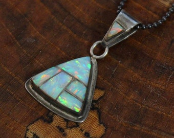 """Vintage Native American Old Pawn Zuni Sterling Silver Beautiful Created Fire Opal Mosaic Inlay Pendant on 18""""Ball Chain Necklace signed ZZ"""