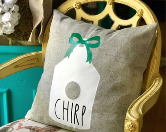 Rae Dunn Inspired Chirp Birdhouse Decorative Pillow
