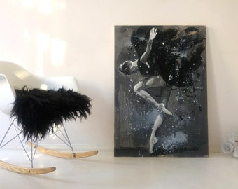Painting on canvas Original woman figurative art Modern Kosakowski vertical large black grey white dancer ballerina OOAK