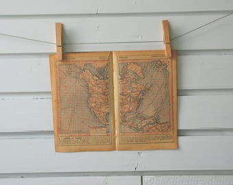 1920's Vintage North America Map