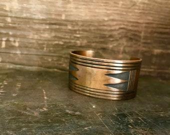Vintage Southwestern Men's Wide Large Copper Cuff Bracelet