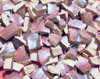 Supplies - Vintage - Mosaic Tiles Pieces - 150 - Terra Cotta w Rustic Glaze use either side - Broken Tessera