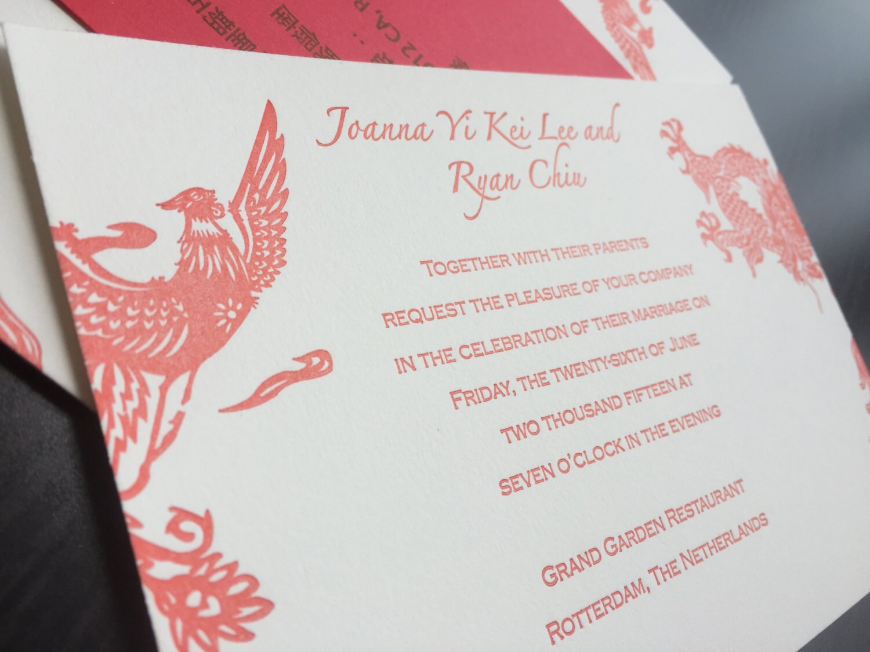 Double happiness seal letterpress wedding invitation custom