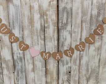 Heart Garland Just Married-banner/garland/wedding Garland/Wedding