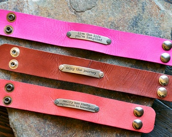 Inspiring Phrases on Genuine Leather Handmade Cuff Bracelet, in Pink, Brown or Red