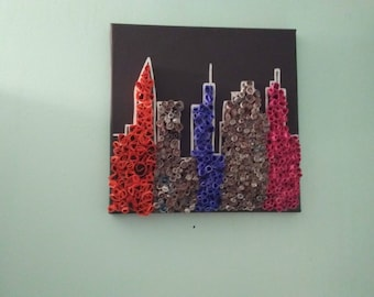 Cityscape, rolled paper wall art