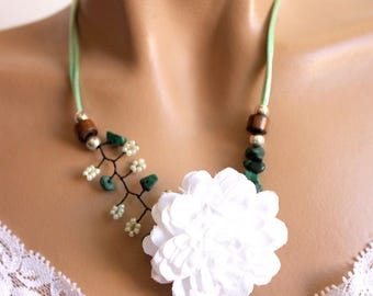Green and white floral branch necklace
