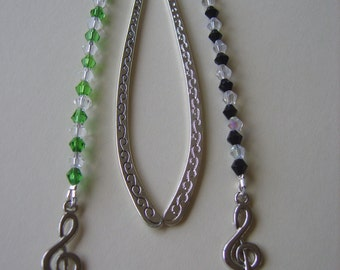 Treble clef  beaded bookmark,treble cleff bookmark, music bookmark, music gifts