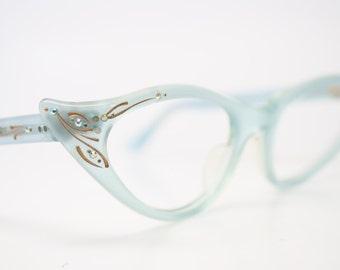 Rhinestone Cat Eye Glasses Cateye Eyeglasses NOS Vintage Baby Blue