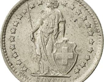 switzerland 1/2 franc 1964 bern au(50-53) silver km23