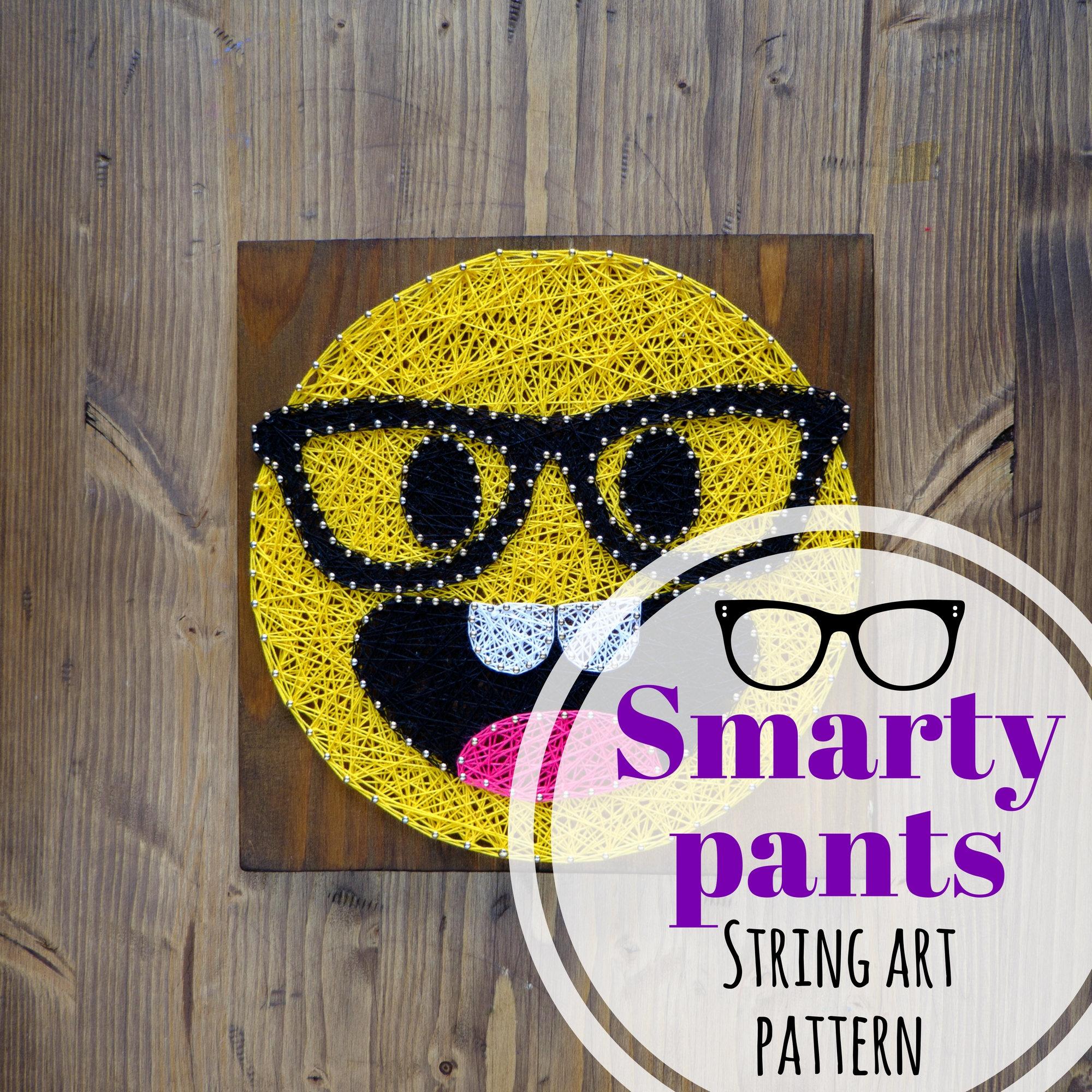 Smarty Pants emoji string art template, pattern, DIY string art dot ...