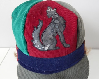Dire Wolf NewsBoy Hat, News Boy Cap, All Patchwork corduroy hat,Newsboy Cap, Hippie Hat, Festival Hat, Patchwork Hat, hippie cap,cabbie