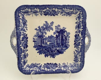 Antique Mason's Ironstone Blue Transfer Tray - England