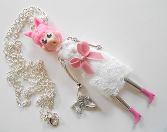 Pink 1 doll miss Lady pendant necklace.