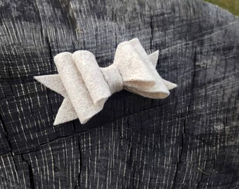 Felt bow, double layered bow, baby headband, oatmeal,