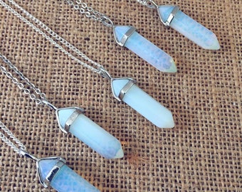 NEW Opal Necklace, Silver Quartz Crystal Necklaces, Hippie Opalite Jewellery, Opal Crystal Necklace, Boho Gift by InTheMomentUK