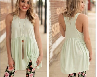SUPER CUTE Mint Green Side Knot Tunic for Women | Must-Have for Spring and Summer!