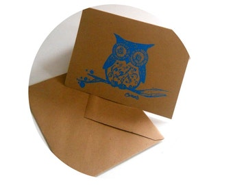 Blank Woodland Owl Greeting card in Turquoise and brown