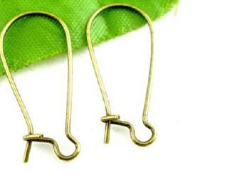 set of 100 bronze 24 mm x 11 mm ear hooks