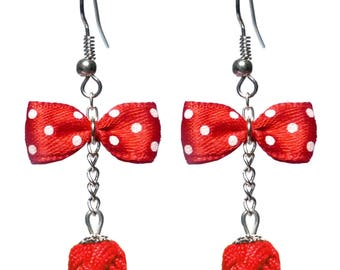 Earrings inspired retro bow tie red with white dots