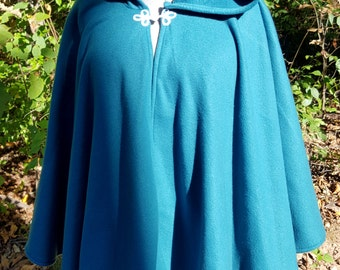 Short Fleece Cloak - Teal Blue Full Circle Cloak Cape with Hood
