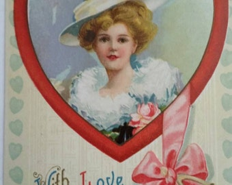 Valentine's Day Antique Postcard Red Heart with Lady in a Hat