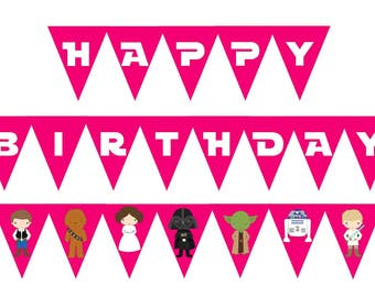 Star Wars Birthday Banner < Girl Star Wars Birthday Party < Star Wars Decor < Star Wars Party < Han Solo < Darth Vader < DIY Star Wars Party