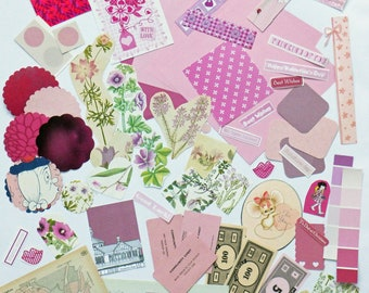 Pink Collage papers, Pink Paper Ephemera pack, Collage pack,  60 pieces paper scrap pack, Paper ephemera lot