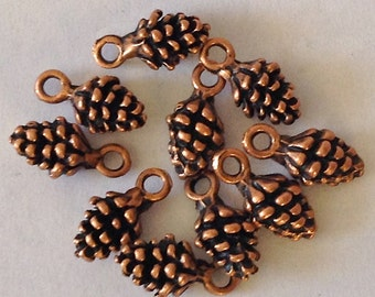 CLEARANCE  Mini Pine Cone Charms in BRONZE  Finish Set of 20