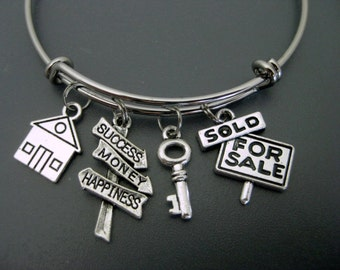 Realtor Bracelet /  Real Estate Bangle / House  / Key  / Success / Charm Bracelet / Adjustable Bracelet / Expandable Bangle / Stackable