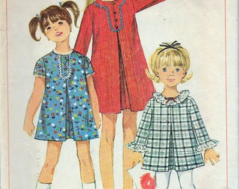 """Vintage 1967 Simplicity 7230 Girls' Dress With Detachable Neck & Sleeve Trim Sewing Pattern Size 8 Breast 26"""""""