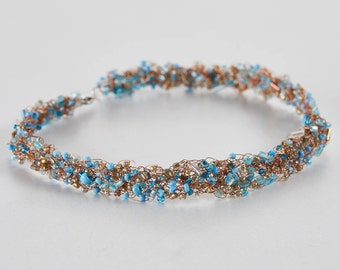 Sirena Choker Necklace - Sea-Colored Beads in a Copper Tangle