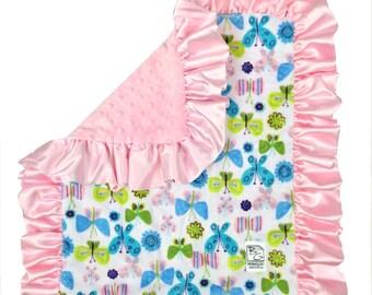 Butterflies Security Blanket Pink Aqua Green