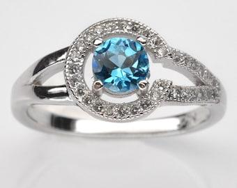 Handmade Natural Gemstone Jewelry, Genuine Swiss Blue Topaz Sterling Silver Ring  FD5C0034 RIS7-SBT423